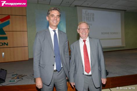 Dominique Sorain, préfet de La Réunion et Bruno Parmentier, le conférencier du Grand Forum 2015