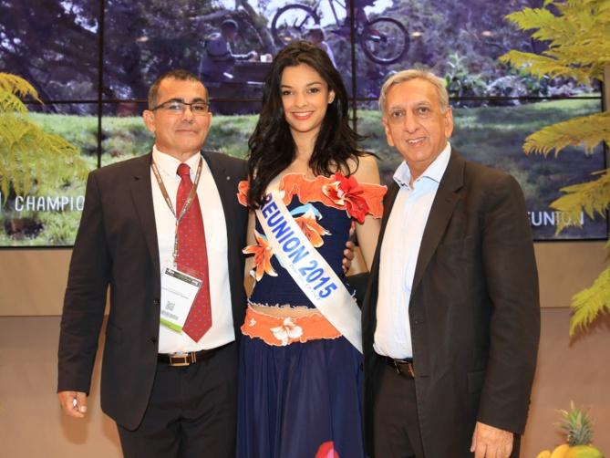 Patrick Serveaux, Azuima Issa, et Aziz Patel, délégué Miss France pour La Réunion