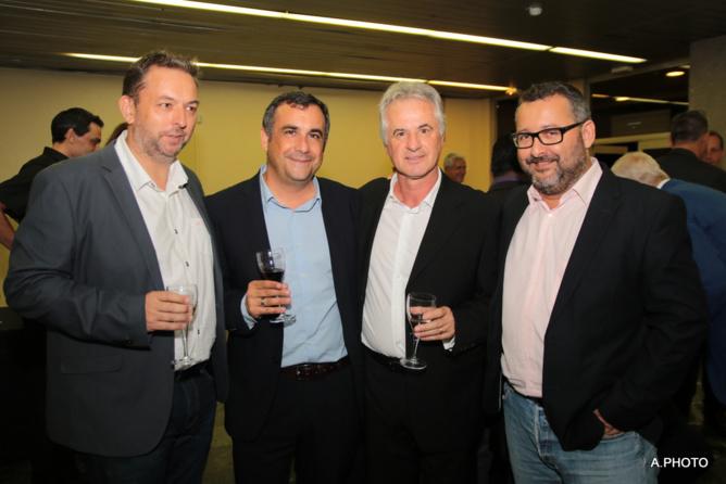 Thierry Kasprowicz, directeur de la rédaction de Mets Plaisirs Olivier Bajard, directeur de la SHLMR, Jean-Pierre Angé, président du club des Uniques 2015, Hervé Charlanes, président du club des Uniques 2016