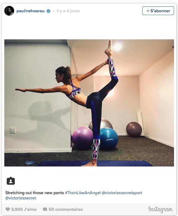 Pauline a fait du stretching pour se préparer au show.      Stretching out those new pants #TrainLikeAnAngel @victoriassecretsport @victoriassecret