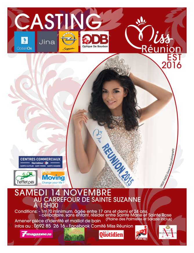 Miss Réunion Est<br>Casting samedi 14 novembre