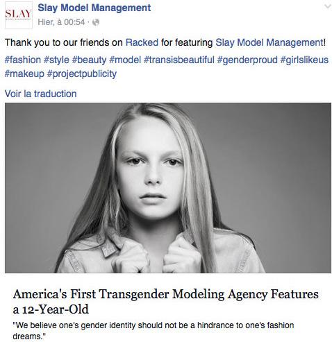 Photo: Facebook agence  Slay Model Management