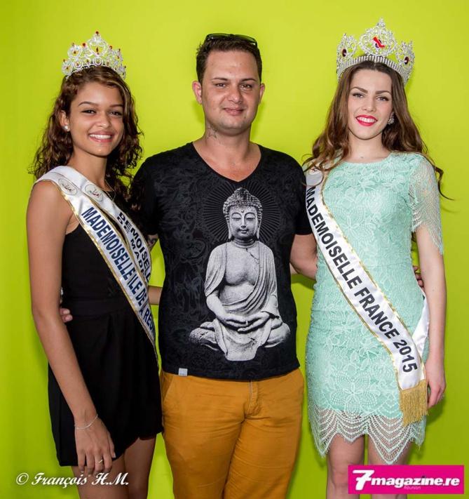 Chloé Vincelot, Mademoiselle Ile de la Réunion 2015, Eddy Séry, président du comité organisateur, et Pauline Lima