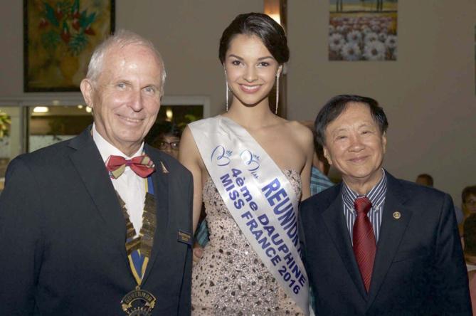 Jean-Marie Fumery, Gouverneur 2015/2016 du Rotary District 9220, Azuima Issa Miss Réunion 2015 et 4ème dauphine Miss France 2016, et André Thien Ah Koon, maire du Tampon