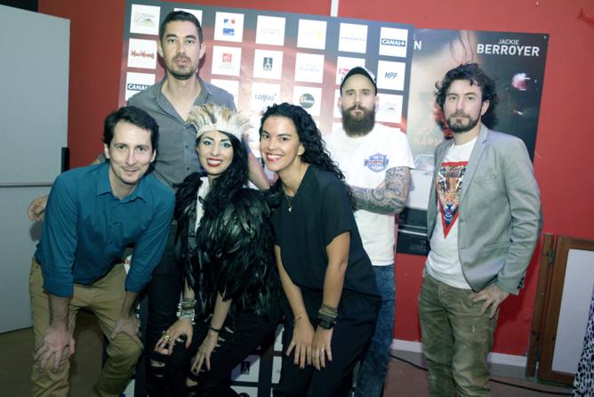 Aurélia et Nicolas Luquet, son proche collaborateur (à droite), avec les partenaires du festival