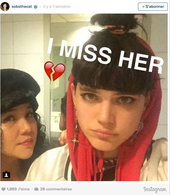 Message de Soko sur Instagram