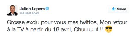 Le message de Julien Lepers sur Twitter