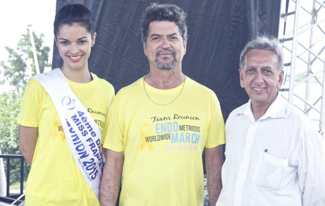 Azuima Issa, Daniel Pausé, et Aziz Patel du Comité Miss Réunion, solidaire de l'Endo March