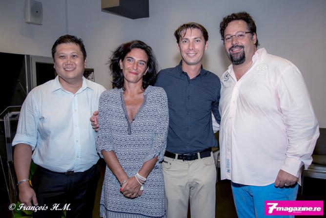 Mr Attive, propriétaire de l'Hôtel Austral, Véra Florent, Pierre-Yves Blanchard et Yann Lefebvre