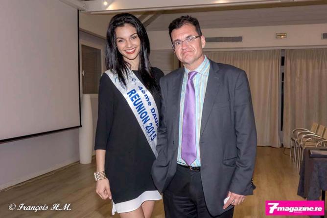 Azuima Issa, Miss Réunion 2015 et 4ème dauphine de Miss France 2016, avec Atanase Périfan
