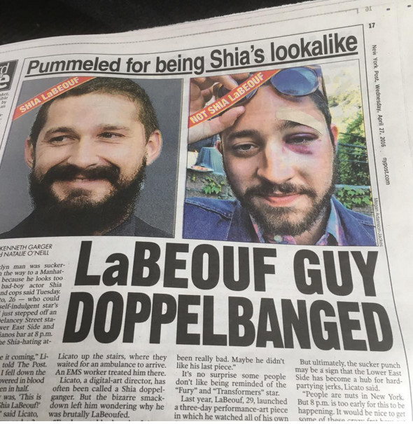 L'agresseur n'aimait pas Shia LaBeouf