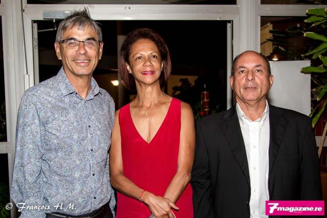 Yves Morel et son épouse, et le commandant Pascal Ravenel de la Police Nationale