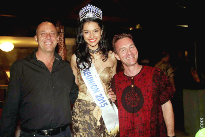 Fabrice Thabuis, directeur de la publicité groupe JIR, Azuima Issa, Miss Réunion 2015, Julien Corcellut, Assistant Directeur de la restauration Palm Hotel & Spa*****, organisateur de la soirée