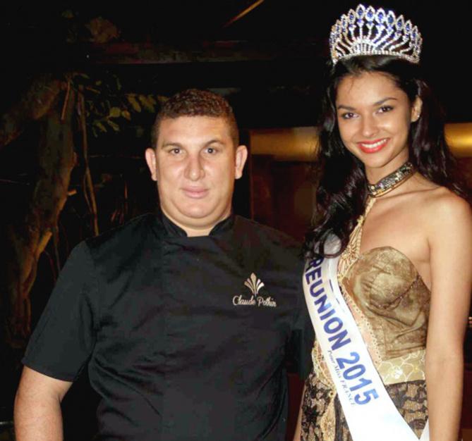 Claude Pothin, chef des restaurants du Palm Hotel & Spa*****, et Azuima Issa, Miss Réunion 2015