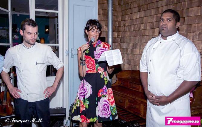 Pascale Mesnard et les chefs cuisinier et pâtissier de la Villa Angélique