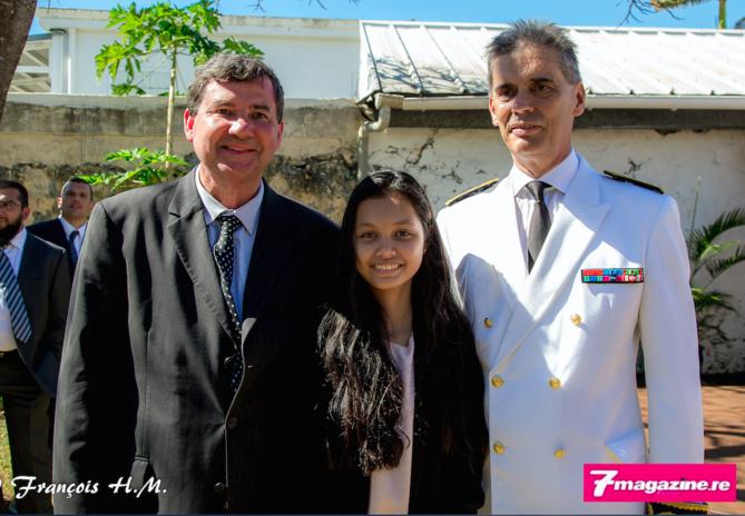 Daniel Gonthier, maire de Bras Panon, sa fille et Dominique Sorain, Préfet de La Réunion