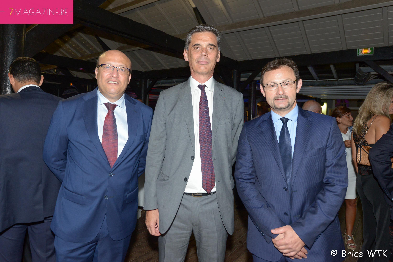 Frédéric Alory, le partant, Dominique Sorain, Préfet de La Réunion, et Christian Oberlé, directeur régional Air France Océan Indien