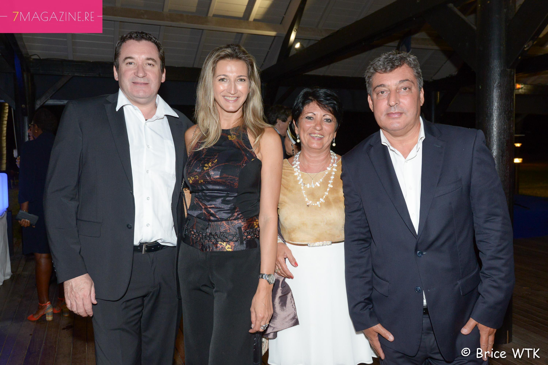 Pascal et Virginie Turonnet, Gilles Calabiscetta, directeur de la Poste, et son épouse