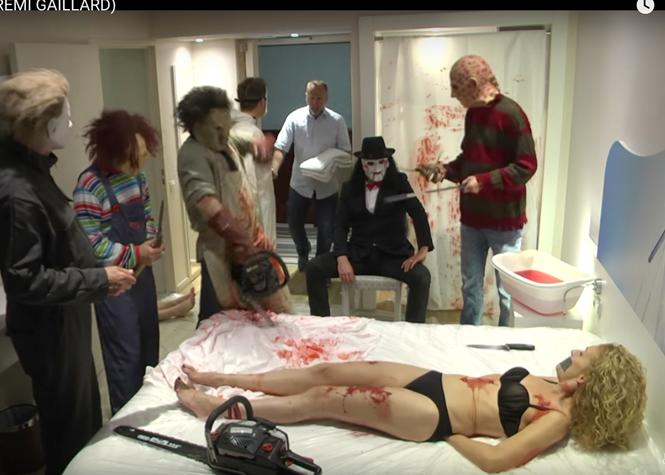 Rémi Gaillard terrorise un maître d'hôtel pour Halloween