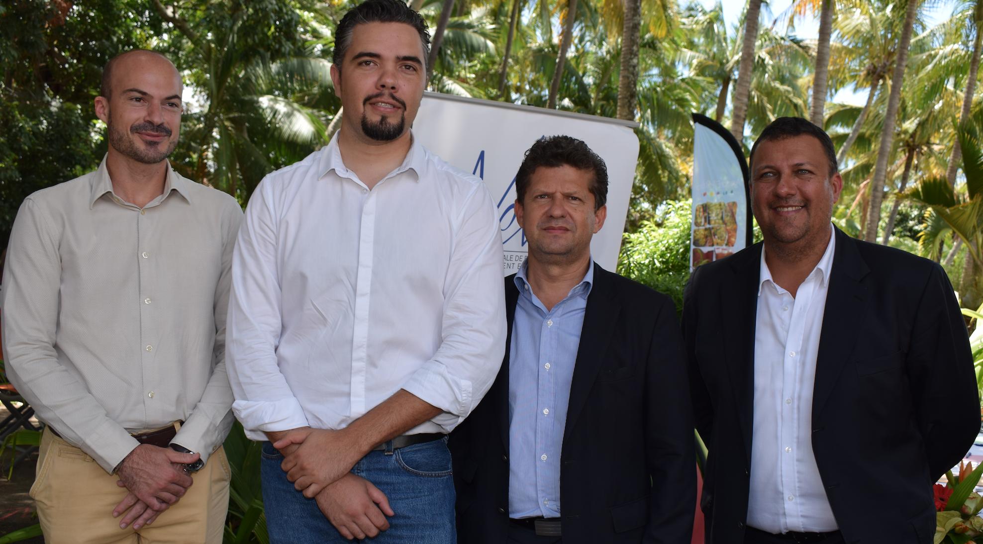 Willy Ethève, directeur de l'IRT, Vincent Payet, conseiller régional, Gaston Bigey, directeur général Nexa, et Edy Payet, délégué général Agence Film Réunion