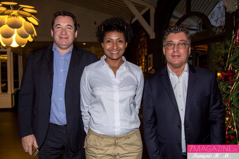 Pascal Turonnet, directeur du Créolia, Nadia Loiseau-Khelill de La Poste, et Gilbert Calascibetta