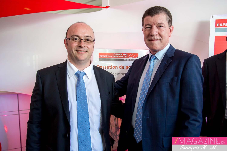 Rémi Amato, le nouveau président de l'Ordre des Experts-Comptables de La Réunion et Marcelino Burel le président sortant