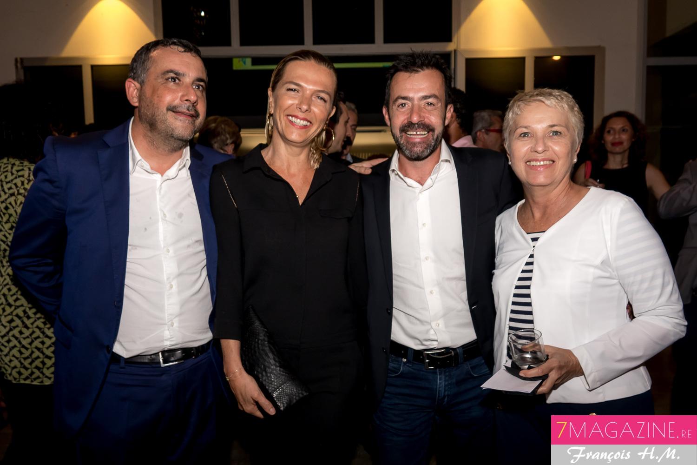 Olivier Bajard, avec Yann de Prince et sa compagne, et Katherine Chatel