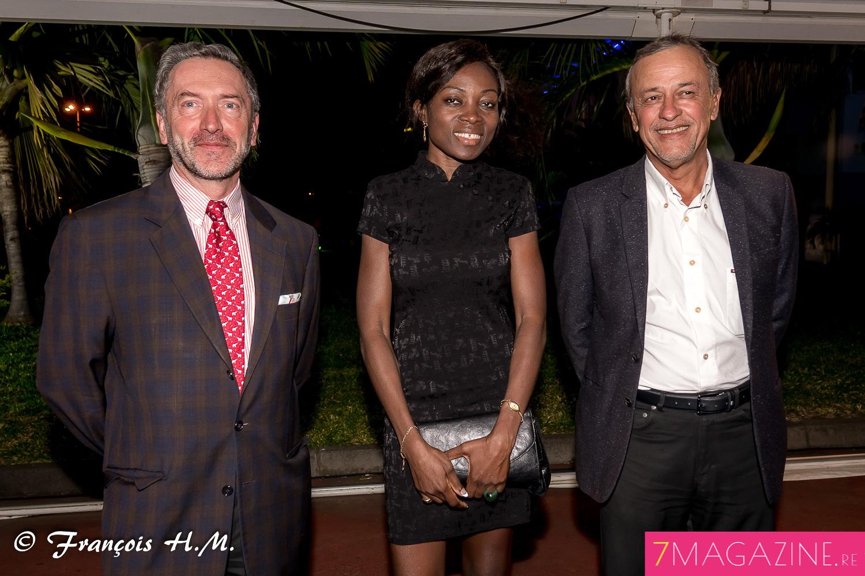 Pierre-André Taulet, directeur de la BFC-OI, et Mario Lechat, pharmacien, avec une invitée
