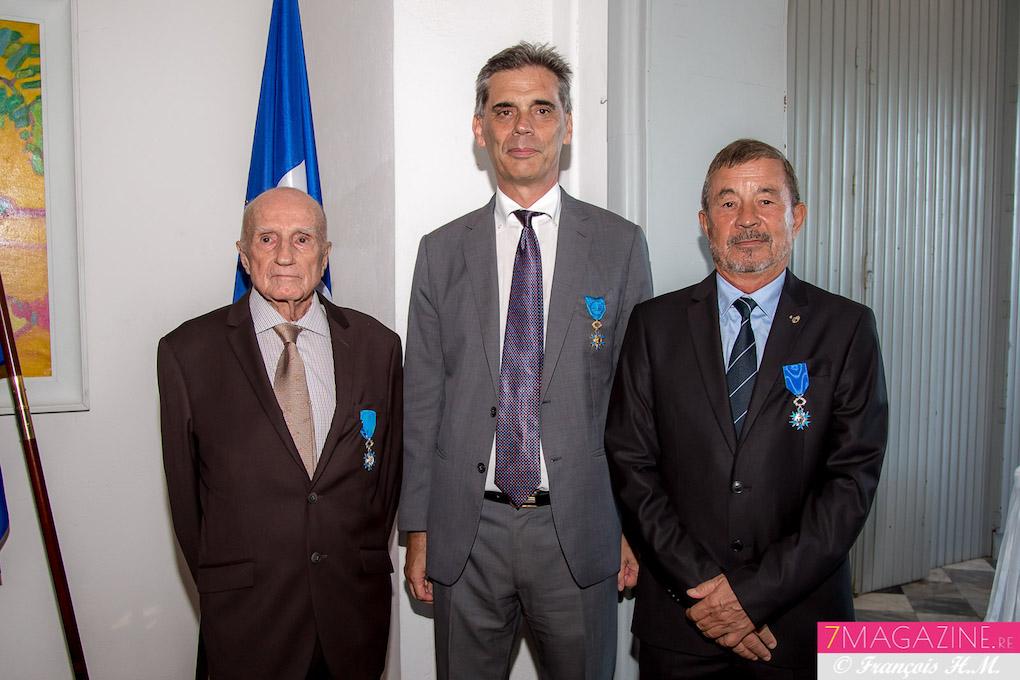 Paul Versini-Trollé, le Préfet de La Réunion Dominique Sorain, et Jacques Laravine