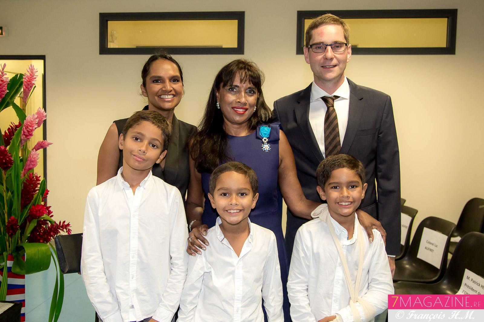 Ida avec sa fille Cyndie, son gendre Grégory, et ses petits-enfants