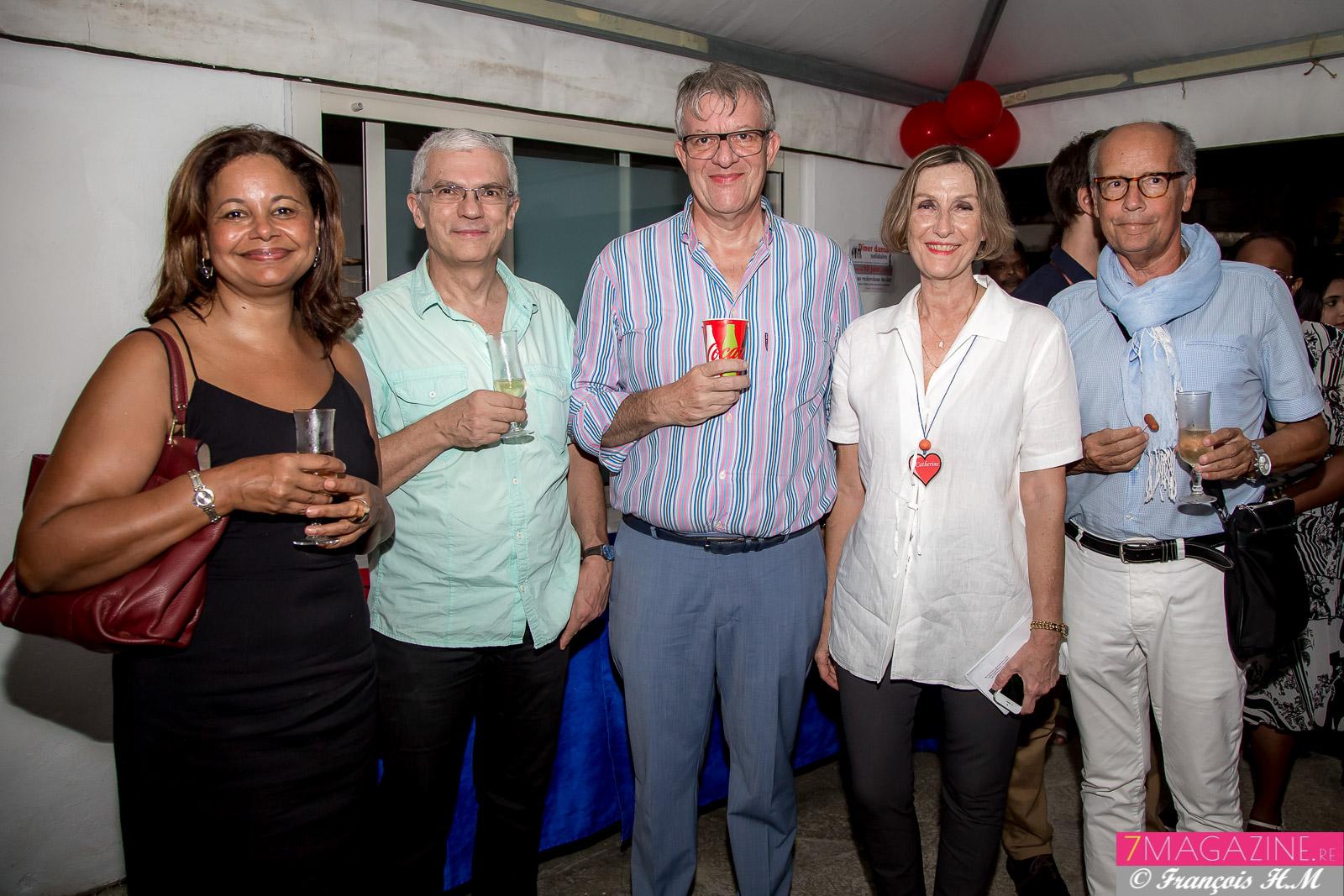 Catherine Gaud avec Claudine et Philippe Lorin et des invités