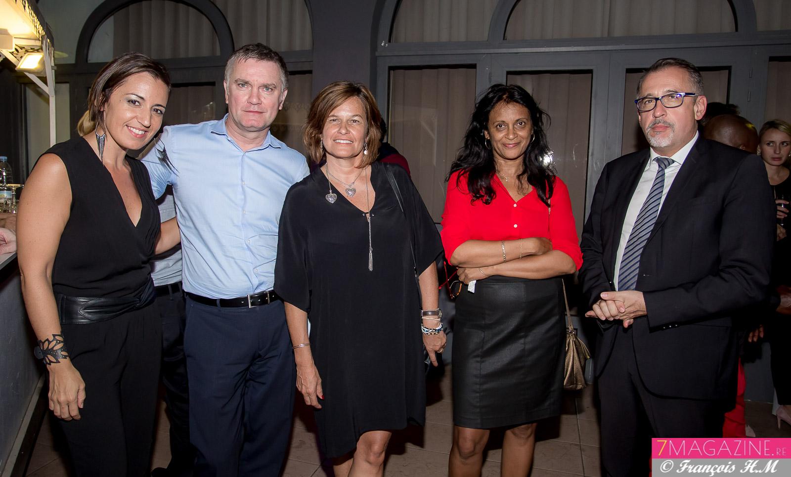 Sabrina Riviere, Alain Druelles, Angélique Goodall, directrice régionale adjointe Pôle Emploi, Colette Puvilland, et Michel Swieton