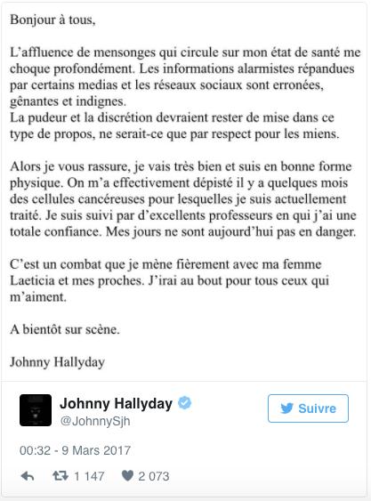 Johnny Hallyday atteint d'un cancer