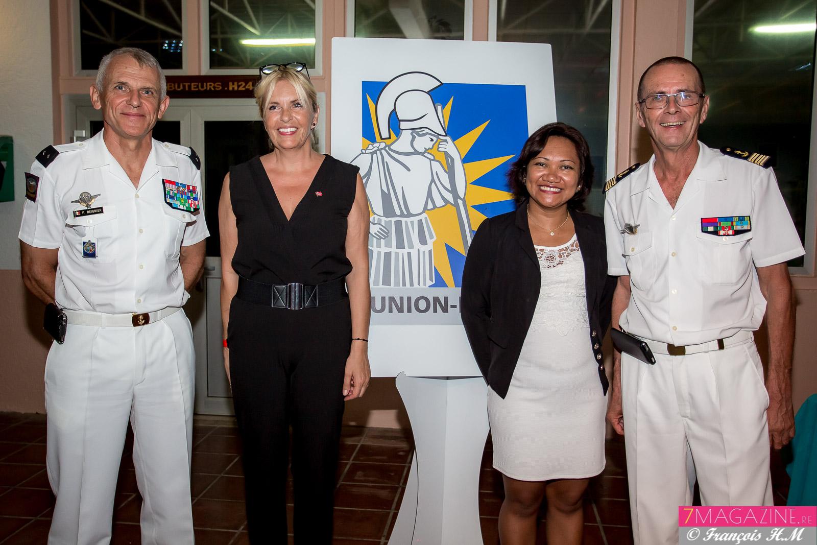 Général Franck Reignier, commandant supérieur des FAZSOI, Eve Lyne Charlanes, consule honoraire de Norvège, Mialy Andrianaivo, vice-consule de Madagascar,et Bernard Salva, président de l'AR 27