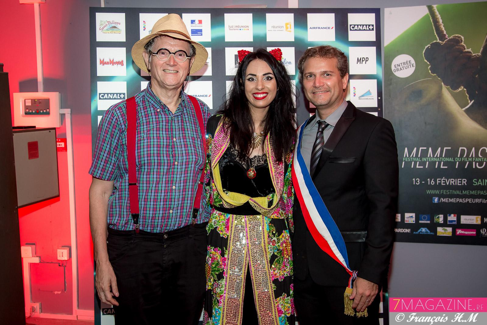 René-Louis Pestel, président de la Cité des Arts, Aurélia Mengin, directrice du festival, et Olivier Rivière, maire de Saint-Philippe