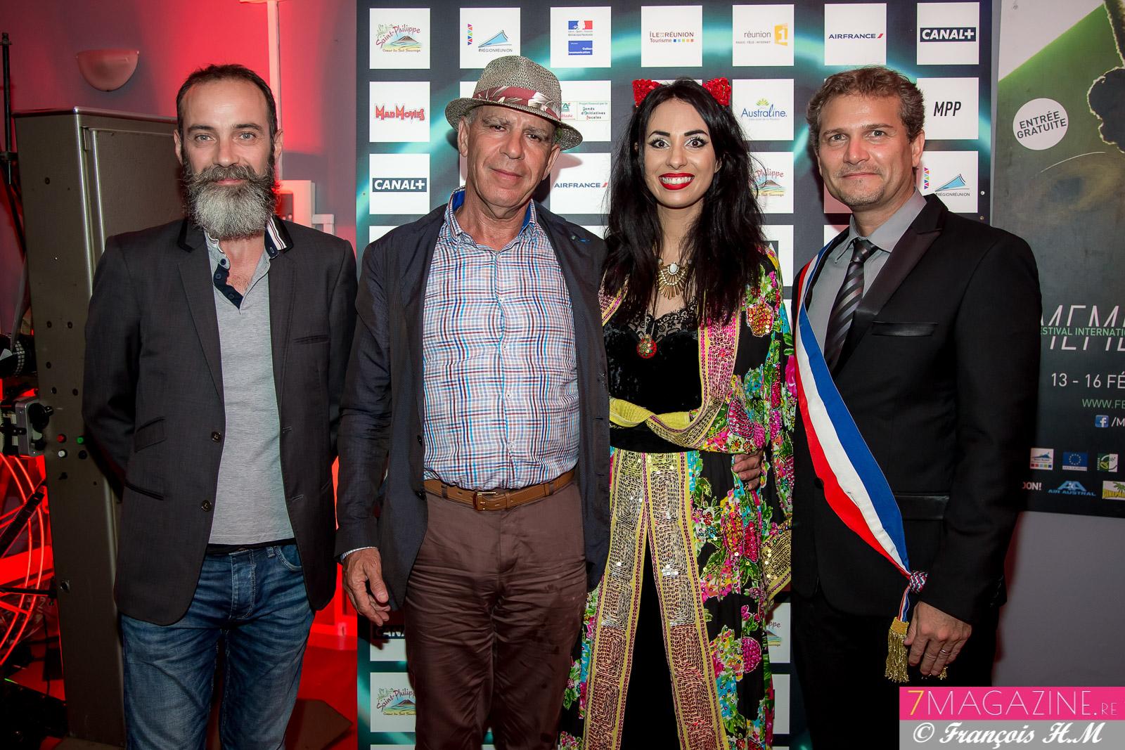 Stéphane Négrin, conseiller cinéma à la DAC OI, Marc Nouschi, directeur des Affaires Culturelles, Aurélia Mengin et Olivier Rivière