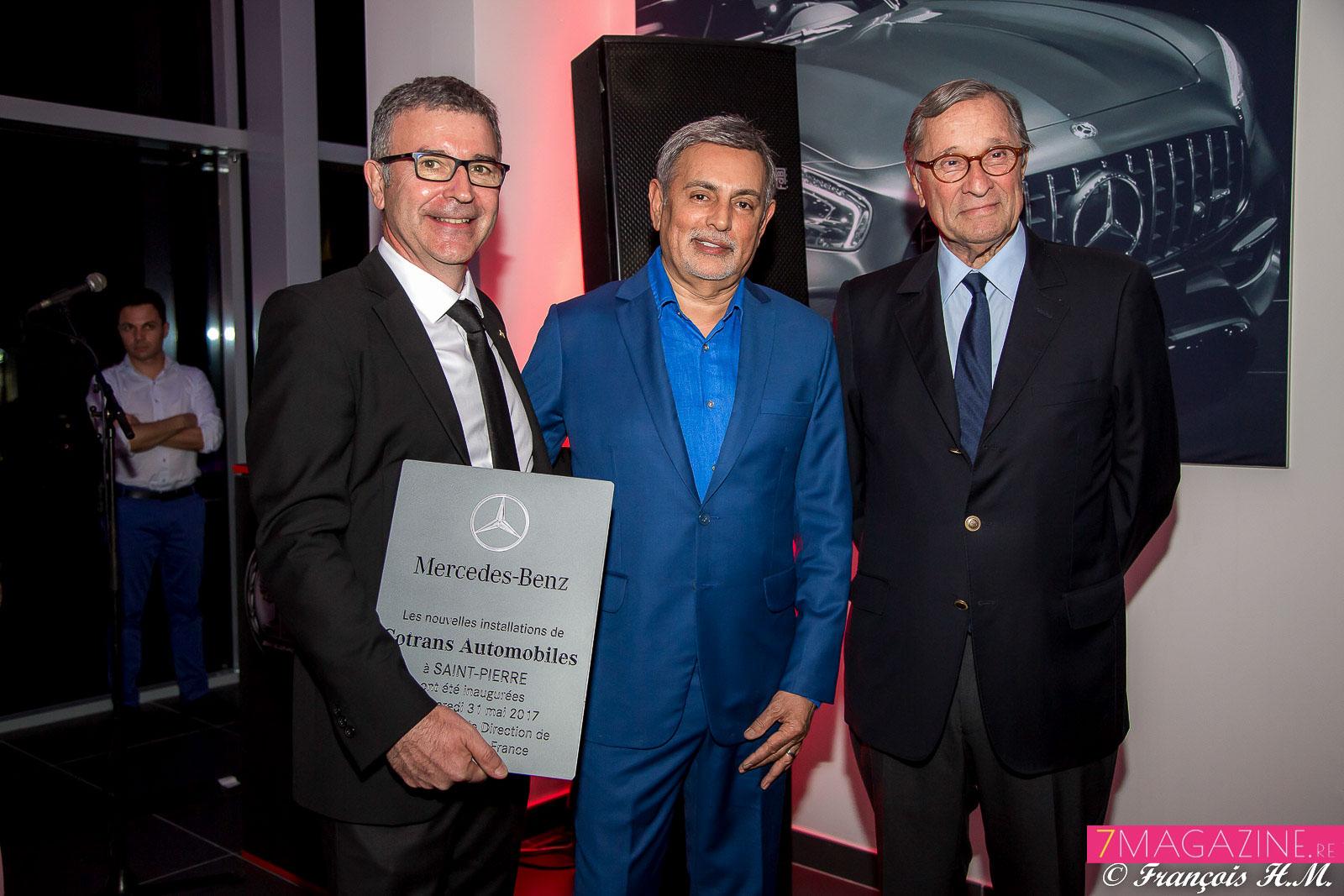 Didier Legendre, directeur de Mercedes Réunion, Youssouf Mohamed, directeur de Atlas et Crozatier, et Bernard Hayot