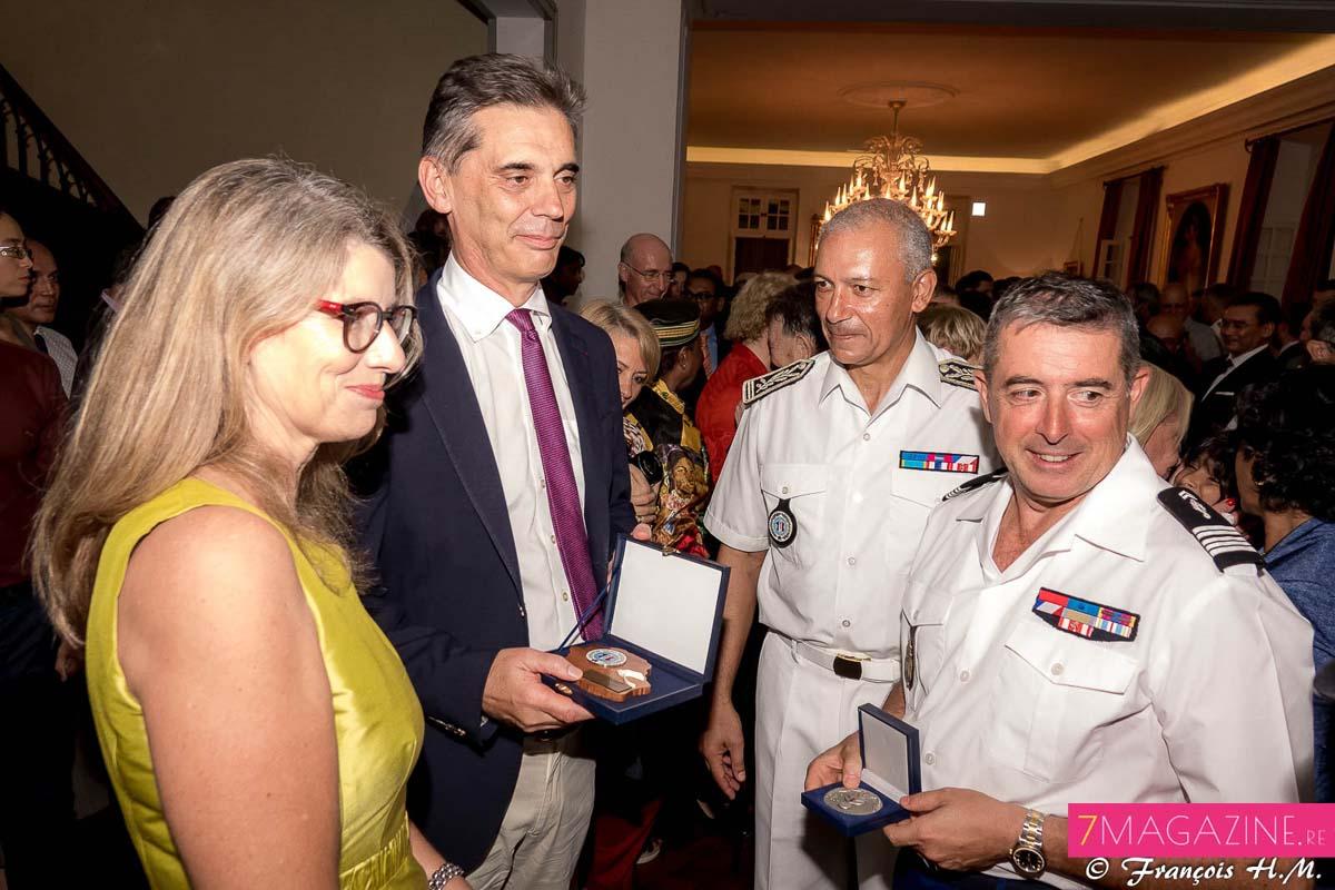 Avec Jean-François Lebon, directeur départemental de la Sécurité Publique, et le colonel Luc Auffret, commandant de la Gendarmerie à La Réunion
