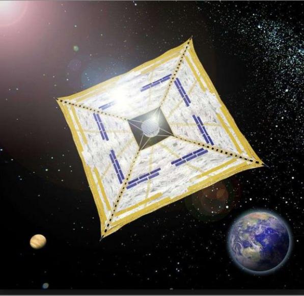 IKAROS : premier voilier interplanétaire, déployé vers Vénus par équipe japonaise de l'ISAS/JAXA, en 2010.Source 7 Lam la mèr