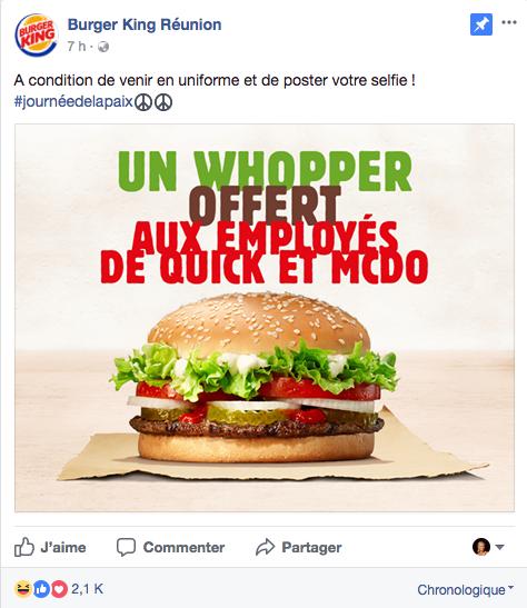 Coup de provoc chez Burger King Réunion...