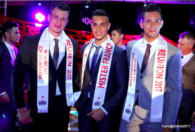 Lorilann Dijoux Mister France Réunion 2017 entouré de Dimitri Leperlier 2ème dauphin et de Samuel Picard 1er dauphin