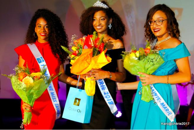 Léa Serveaux Miss Sainte Marie 2018 aux côtés de sa 1ère dauphine Naomie Maillot et de sa 2ème dauphine Anne-Laure Dalleau