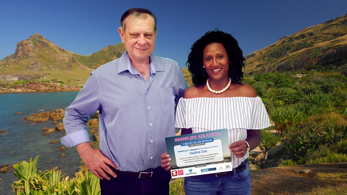 Pierrot Dupuy, directeur de publication Zinfos974 et Nadine Ova, la grande gagnante du jeu Madagascar
