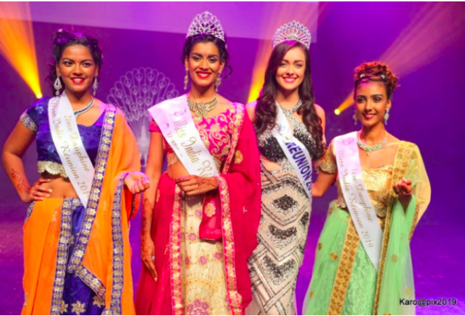 Valérie Soupaya-Valliama, lors de son élection Miss India Réunion 2019