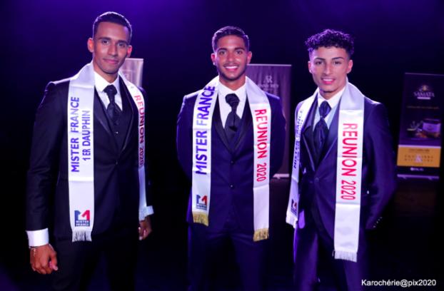 Jérôme Somera-Moti Mister France Réunion 2020 entouré de Clarence Thiébaud premier dauphin et Théodore Hoareau second dauphin