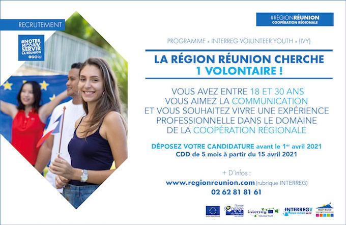 La Région Réunion recrute dans le cadre de l'initiative Interreg Volunteer Youth (IVY)