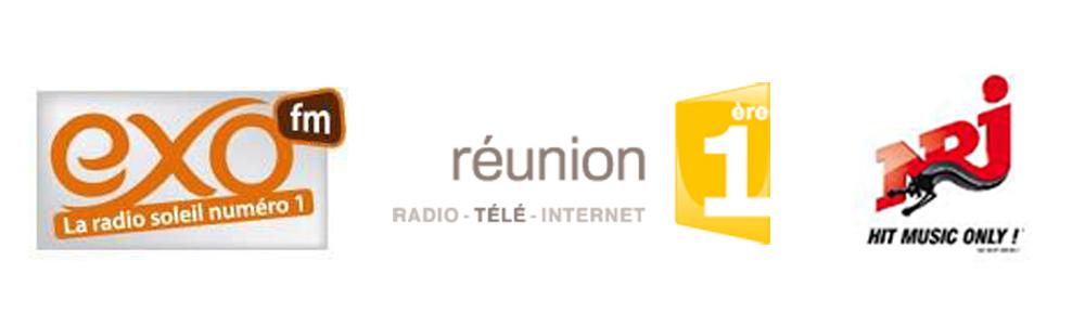 Exo FM avec 13,1% (+1,4%), Réunion 1ère avec 8% (-1%), NRJ Réunion avec 7,6% (-0,8%)