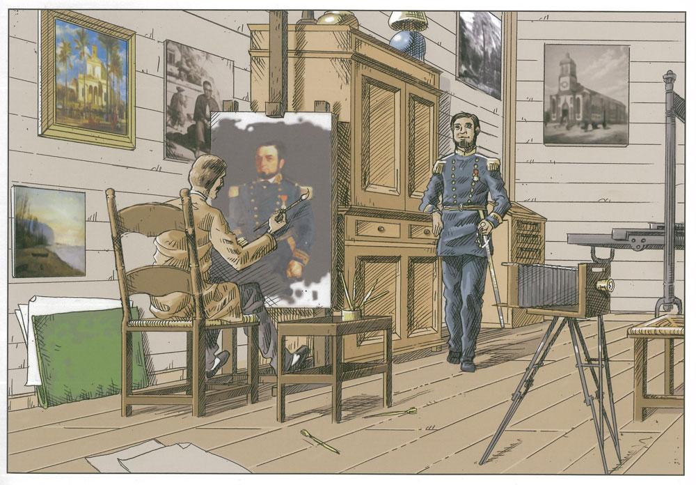 Fruit de l'imagination de Daniel Vaxelaire et d'Olivier Giraud,  et à partir d'un portrait d'époque de l'un des directeurs de La BR, on imagine l'atelier d'Antoine Louis Roussin,  croquant son modèle