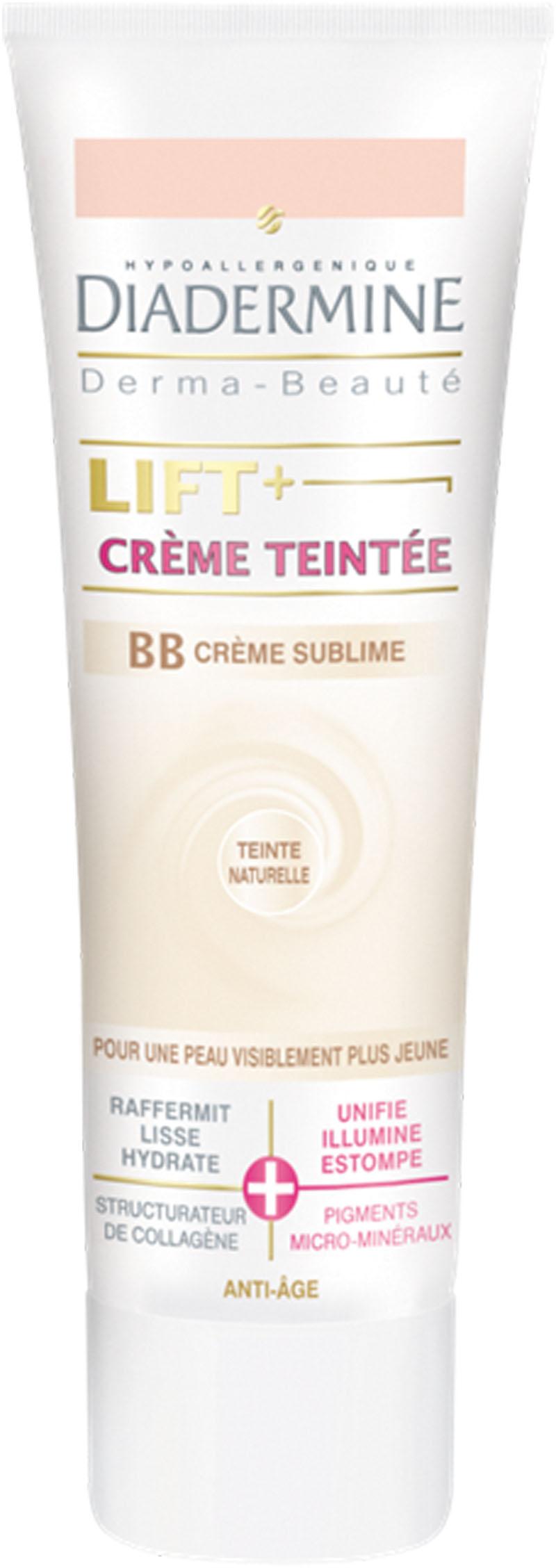 Lift + Crème Teintée BB Crème Sublime: Lift + Crème Teintée BB Crème Sublime offre à la peau six bénéfices en un seul geste. Sa formule allie un soin anti-âge intense à un soin    perfecteur de teint, pour un teint lumineux et sans défaut.  Lift + Crème Teintée BB Crème Sublime raffermit, lisse et hydrate. Sa formule au structurateur de collagène stimule la synthèse de collagène pour une peau plus ferme et plus élastique. La texture unique de cette crème teintée est enrichie en pigments micro-minéraux qui estompent cernes et imperfections pour un teint lumineux, sans défaut et un effet bonne mine naturel. Il unifie, illumine et estompe.