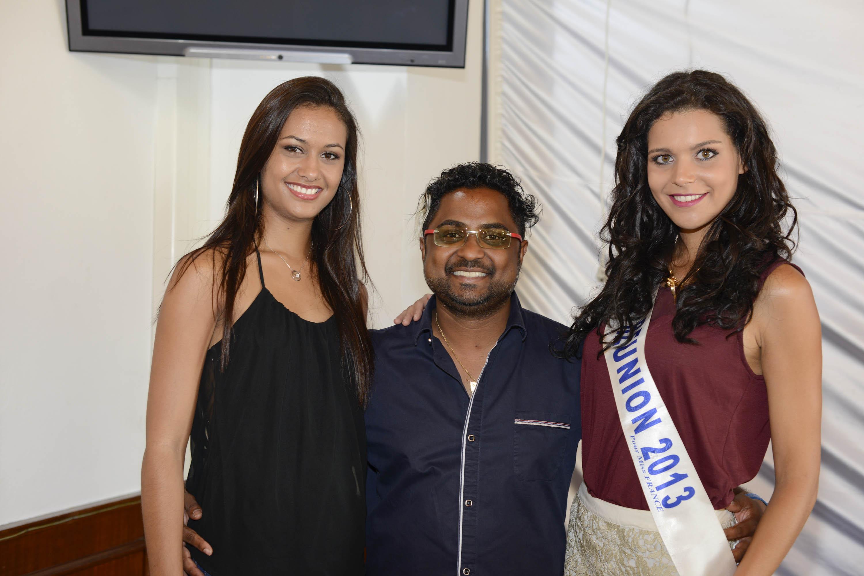 Judikael Mistrin, partenaire Bô Institut de Miss Réunion entouré de Stéphanie Robert, Miss Réunion 2012 et de Vanille M'Doihoma, Miss Réunion 2013